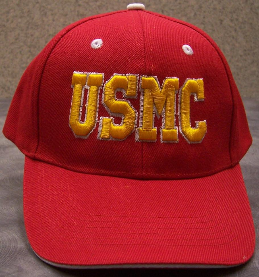 e08d066548 Embroidered Baseball Cap Military USMC Marine red white NEW 1 hat ...