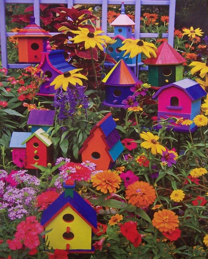 African Baskets: Jigsaw Puzzle Landscape Colorful Birdhouses 1000 Piece NIB