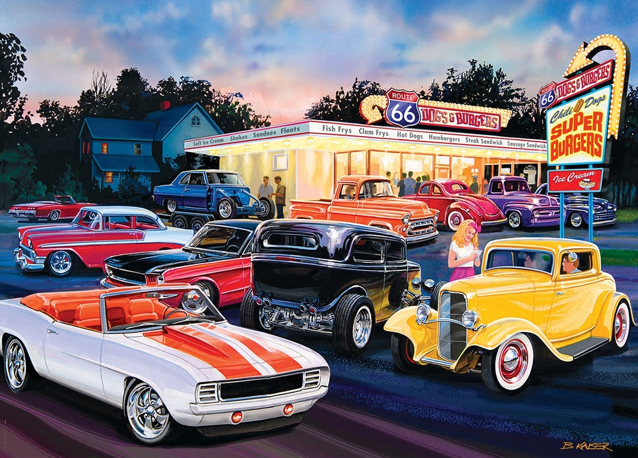 Jigsaw Puzzle Car Dogs And Burgers Drive In Diner 1000 Pieces New