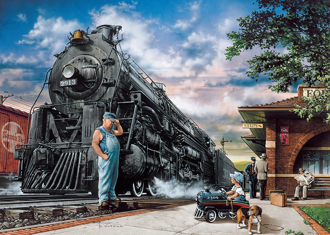 Ретро открытка с днем железнодорожника
