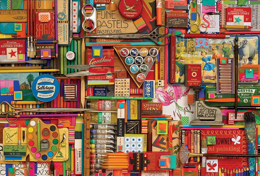 0f8489edc9b33 Vintage Art Supplies by Outset Media 2000 piece Jigsaw Puzzle by Shelley  Davies